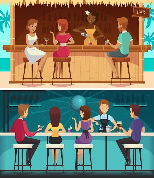 Bar da praia e bar à noite dos desenhos animados banners horizontais Vetor grátis