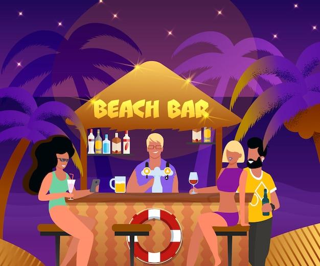 Bar de praia com barman e cartoon pessoas beber cocktails Vetor Premium