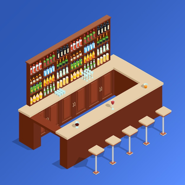 Bar isometric composition Vetor grátis