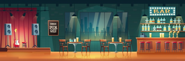 Bar ou pub com interior de desenho animado de música ao vivo Vetor grátis