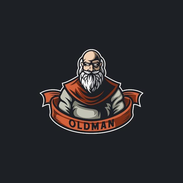 Barba oldman personagem ilustração design Vetor Premium