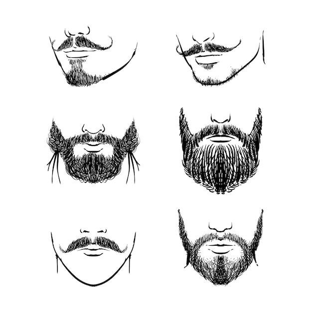 Barbas e bigodes Vetor Premium