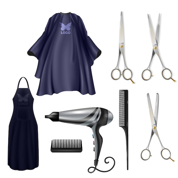 Barbearia cabeleireiros ferramentas vetoriais realista conjunto isolado no fundo branco Vetor grátis