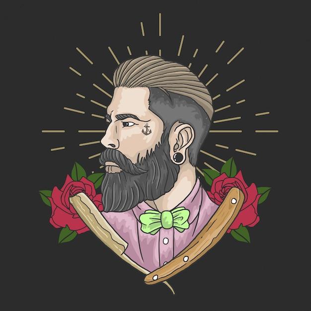 Barbearia gentlemant Vetor Premium