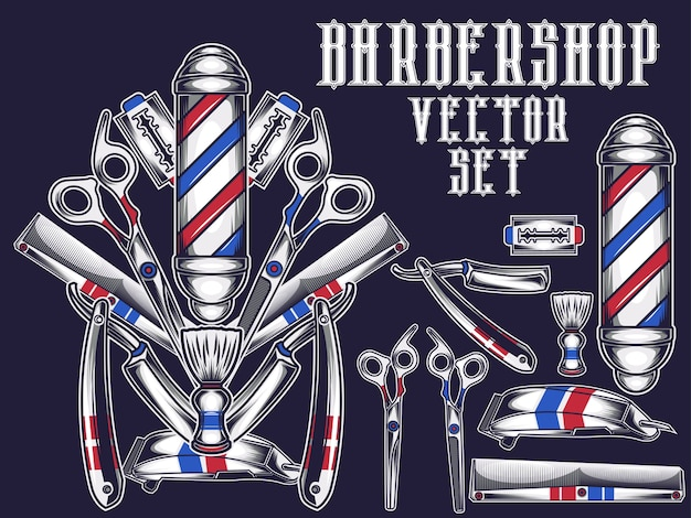 Barbearia ite, conjunto Vetor Premium