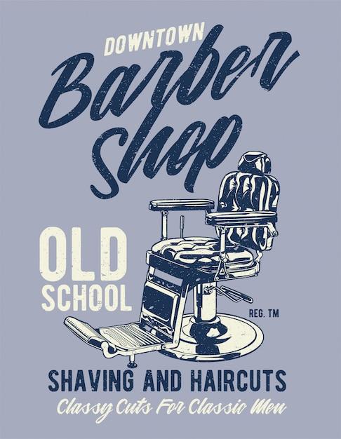 Barbearia no centro Vetor Premium