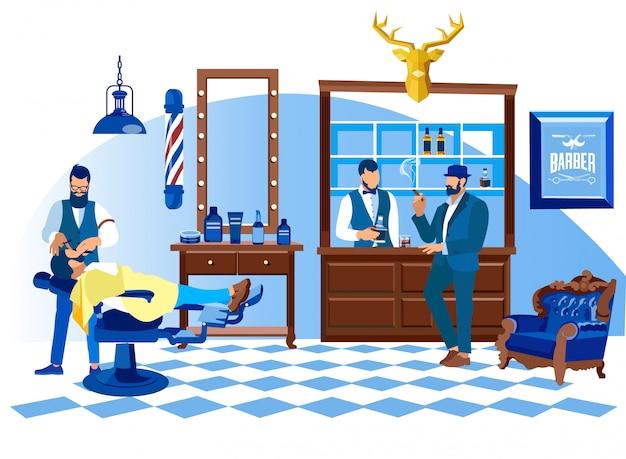 Barbeiro barbear o cliente com navalha, salão de beleza Vetor Premium