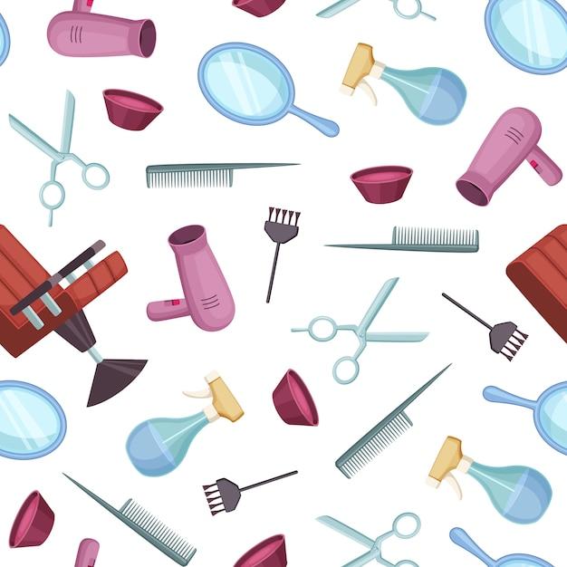 Barbeiro barbeiro colorido padrão de elementos dos desenhos animados Vetor Premium