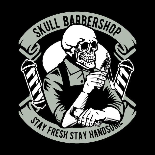 Barbeiro crânio Vetor Premium