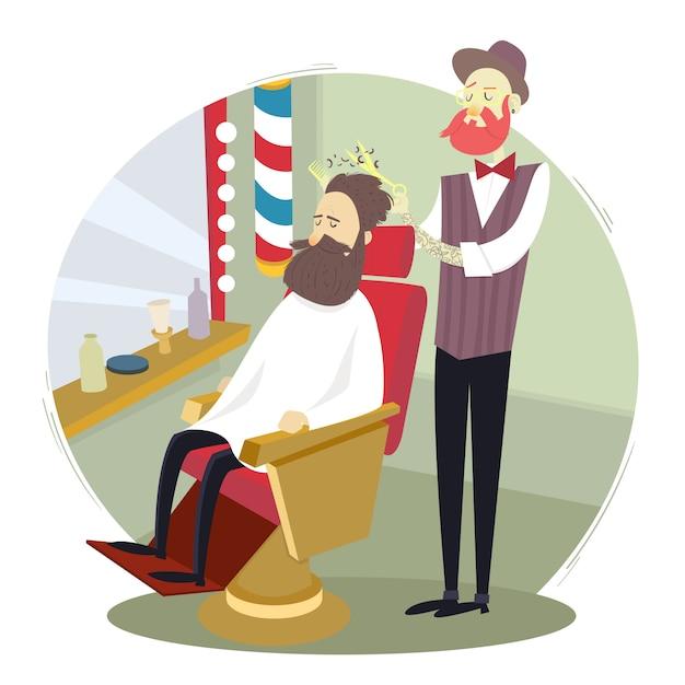 Barbeiro, dar, um, corte cabelo, para, um, homem, em, um, barbearia Vetor Premium
