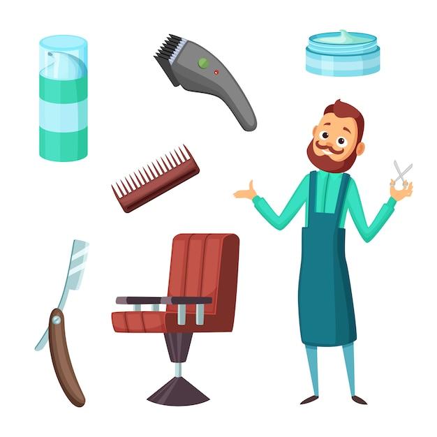 Barbeiro no trabalho Vetor Premium