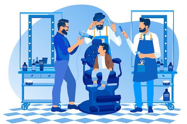 Barbeiros hipster fazem penteado para bebezinho Vetor Premium