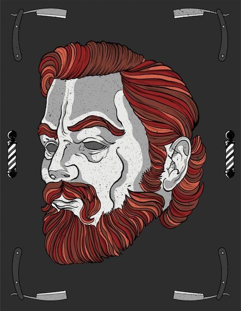 Barber cabeça vermelha movember Vetor Premium