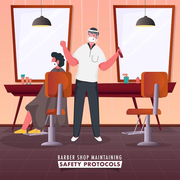 Barber man with his client sentado na cadeira na loja e manter protocolos de segurança durante o coronavírus. Vetor Premium