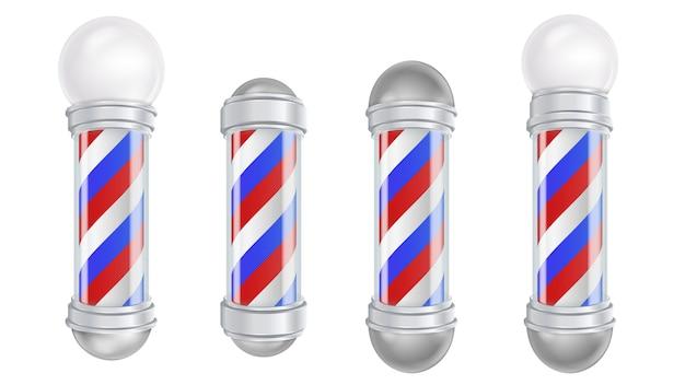 Barber shop pole vector. barbearia pólo antiquado da prata e do vidro do vintage. listras vermelhas, azuis, brancas. isolado Vetor Premium