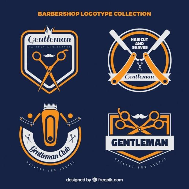 Barber vintage coleção loja de logotipo Vetor grátis
