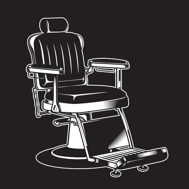 Barbershop chair vintage isolated high detailed Vetor Premium