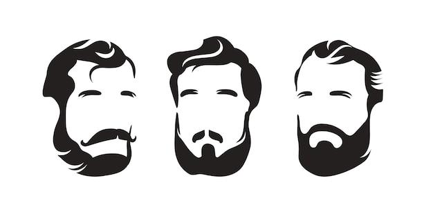Barbieshop. penteado de homem com bigode de barba. silhueta da cabeça de um homem. logotipo em preto e branco. Vetor Premium