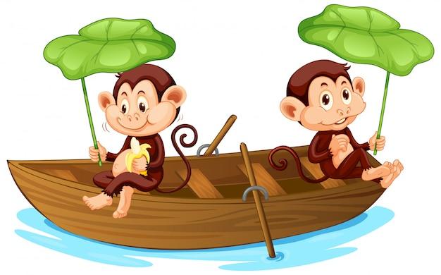 Barco a remos de dois macacos no rio Vetor grátis