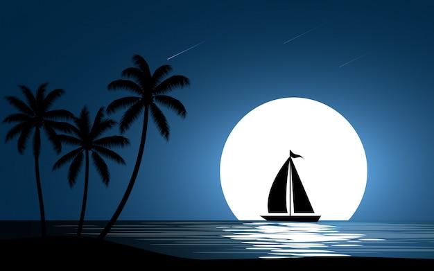 Barco à vela com lua cheia e palmeiras Vetor Premium