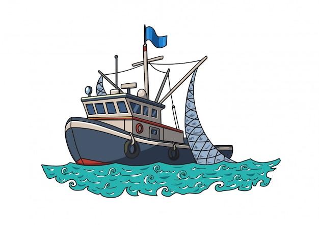 Barco de pesca no mar. ilustração vetorial, isolada no branco Vetor Premium