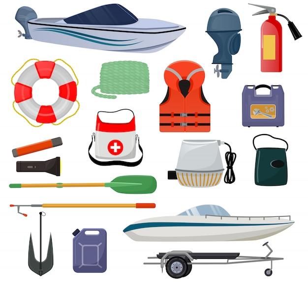 Barco equipamento vetor lancha iate com colete salva-vidas colete salva-vidas conjunto marinho de veleiro náutico iate ou lancha transporte de transporte Vetor Premium
