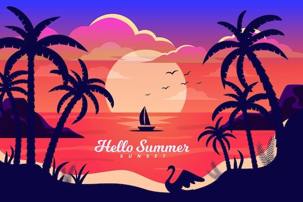 Barco por do sol com fundo de palmas Vetor grátis