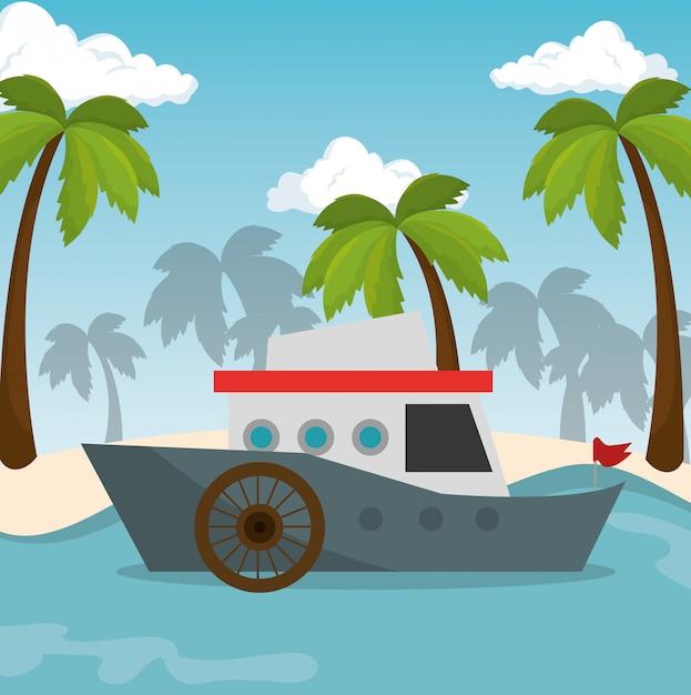 Barco transporte praia mar Vetor grátis