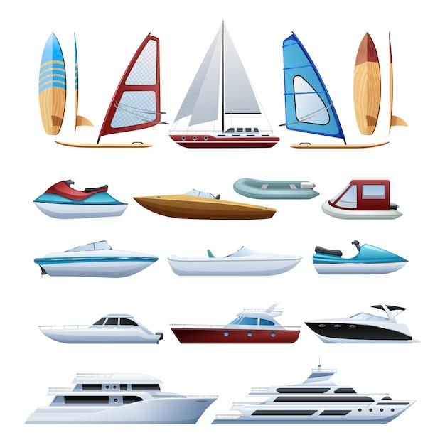 Barcos a motor catamarã windsurfer Vetor grátis