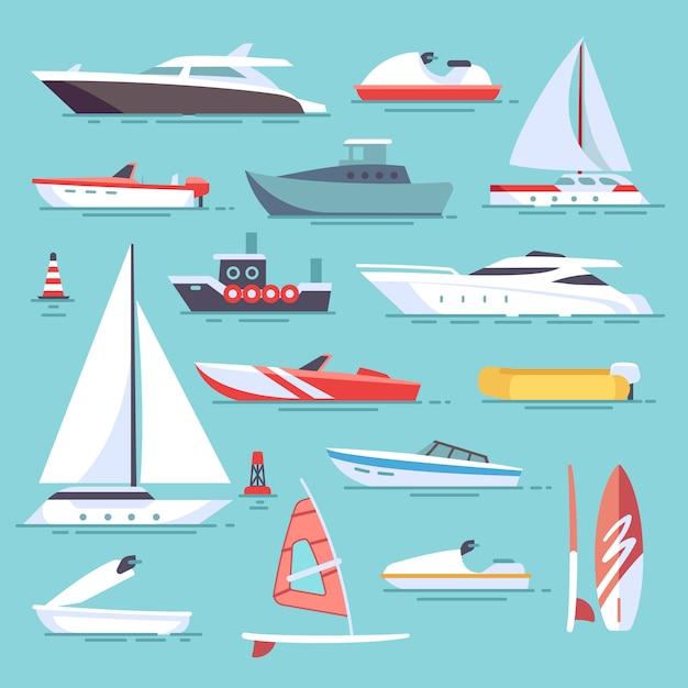 Barcos de mar e pequenos navios de pesca. ícones de vetor plana de veleiros. conjunto de barco de transporte de água e ves Vetor Premium