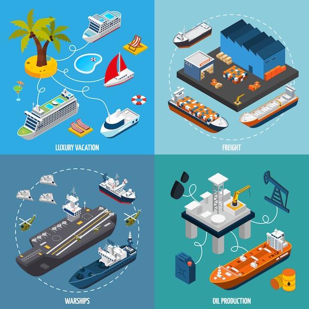 Barcos de navios 4 isométrica ícones quadrados Vetor grátis