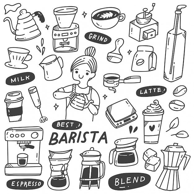 Barista e vários objetos relacionados no estilo doodle Vetor Premium