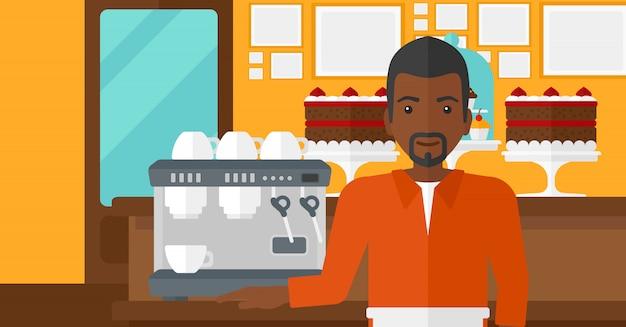 Barista em pé perto da cafeteira. Vetor Premium