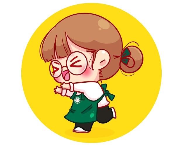 Barista fofa com avental ilustração animada e contente da personagem de desenho animado Vetor grátis