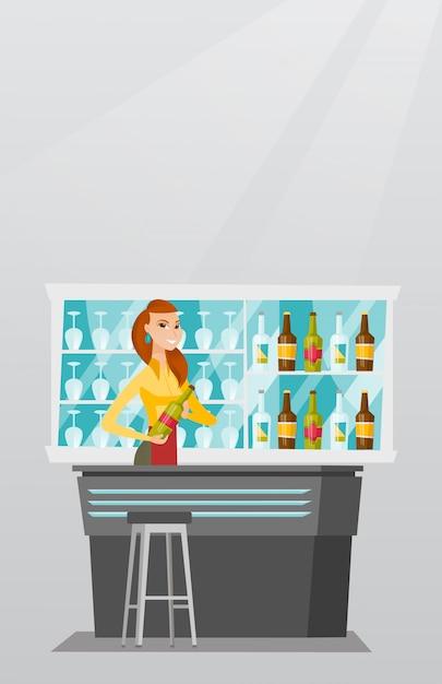 Barman em pé no balcão do bar. Vetor Premium