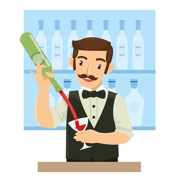 Barman masculino derramando vinho para o cliente no bar Vetor Premium