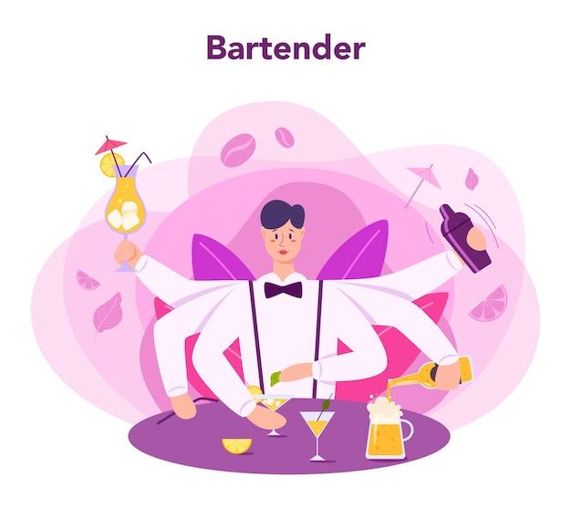 Barman preparando bebidas alcoólicas com shaker no bar. bartender em pé no balcão do bar, preparando o coquetel. ilustração em vetor plana isolada Vetor Premium