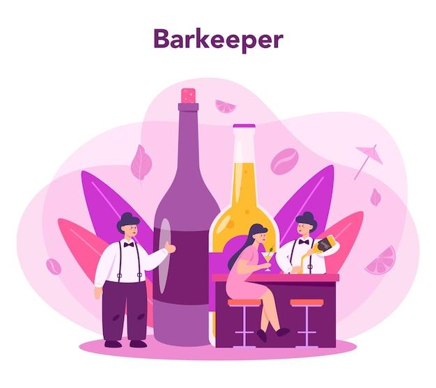 Barman preparando drinques com coqueteleira em bar Vetor Premium