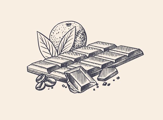 Barra de chocolate com laranja e grãos de café. esboço vintage desenhado mão gravada. estilo xilogravura. Vetor Premium