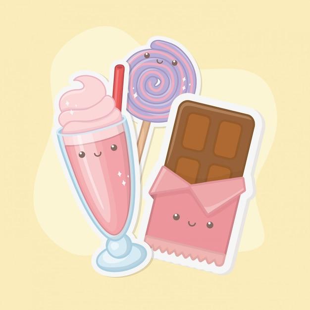 Barra de chocolate doce e doces personagens kawaii Vetor grátis