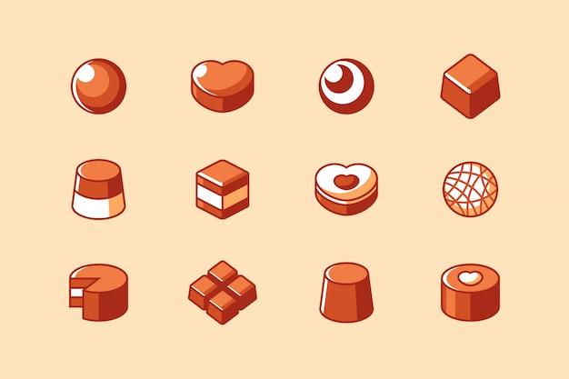 Barra de chocolate e conjunto de ícones de doces Vetor Premium