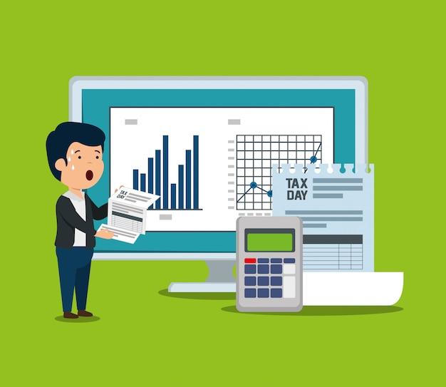 Barra de estatísticas com documento de fatura e telefone de dados Vetor grátis