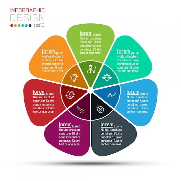 Barra de grupos de modelo do negócio círculo forma infográfico. Vetor Premium