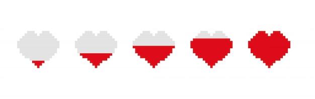 Barra de jogo enchendo o coração. etapas de armazenamento de energia no coração vazio e gradualmente cheio de pixels. Vetor Premium