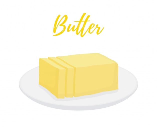 Barra de manteiga amarela com fatias no prato Vetor Premium