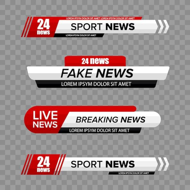 Barra de notícias da tevê. barras de notícias de tv menor terceiro defina vetor. faixa de título de mídia de transmissão televisiva. Vetor Premium