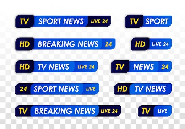 Barra de notícias da tv. banner de título de mídia de transmissão de televisão. transmissão de televisão ao vivo, streaming de show. notícias sobre esportes Vetor Premium