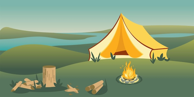 Barraca de acampamento na colina, vista matinal do rio. Vetor Premium