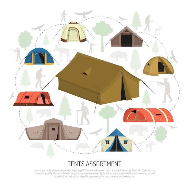 Barraca de acampamento seleção composição cartaz de propaganda Vetor grátis