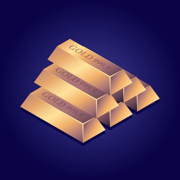 Barras de ouro isométricas lingote de ouro Vetor Premium